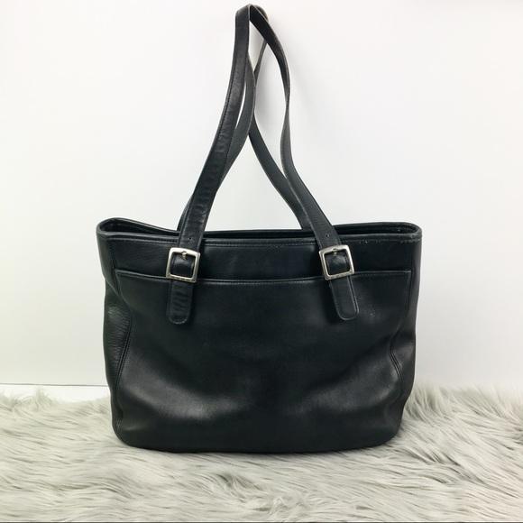 Coach Handbags - Coach vintage black leather structured tote bag 53d06856b9bc8